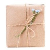 A gift wrapped in butcher paper.