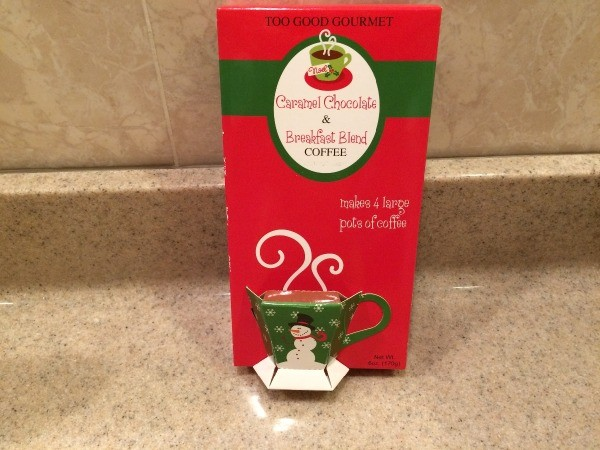 A packet of expensive Christmas themed coffee.