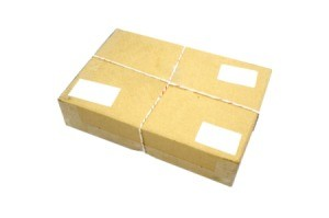 Closed cardboard Box or brown paper package box.