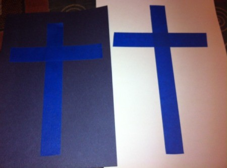 How to Make Cross Silhouettes - measure, cut, and place tape on white paper