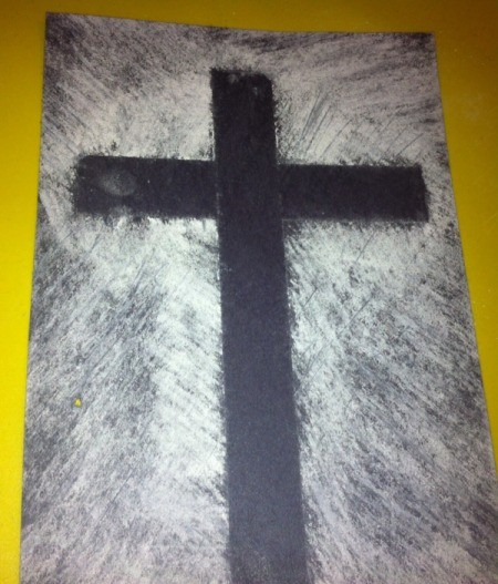 How to Make Cross Silhouettes - remove tape and spray with hairspray to fix or laminate