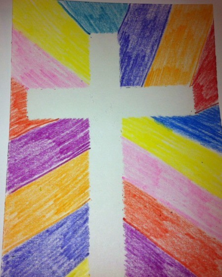 How to Make Cross Silhouettes - tape removed from crayon version made to look like stained glass