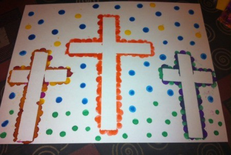 How to Make Cross Silhouettes - finished Bingo marker triple cross project