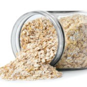 Jar of oats, one of the ingredients in blonde no bake cookies.