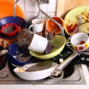 A sink full of dirty dishes, including plates and a frying pan.