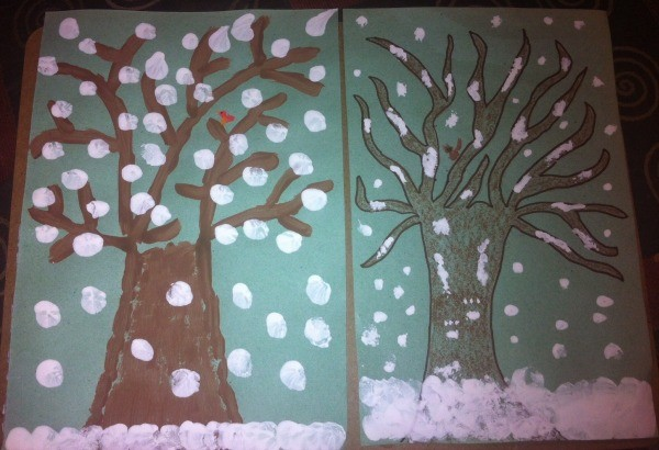 Winter Tree Finger Painting - two styles of snowy tree