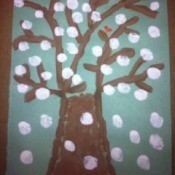Winter Tree Finger Painting - add snow with fingertip