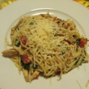 Chicken Spinach Pasta Toss on plate
