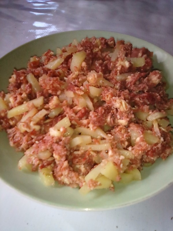 Corned beef with potato on plate