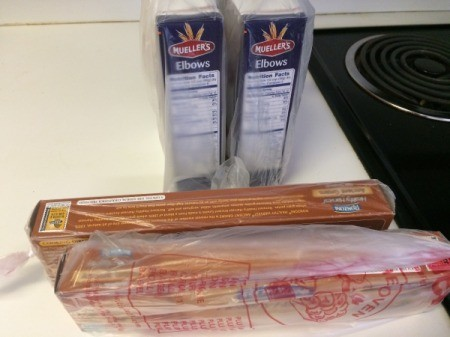 Pasta wrapped in plastic wrap to keep sealed from bugs.
