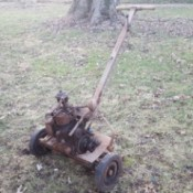 Value of 1938 Eclipse Reel Mower - old reel mower in yard