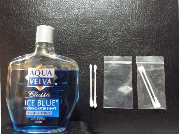 Aftershave and cotton swabs for making sachets.