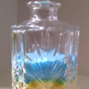 Colored Salt Decor - cut glass style decanter with layered colored salt