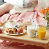 A breakfast tray in bed for Mother's Day.