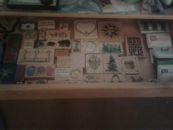 A changing table being used to organize craft supplies.