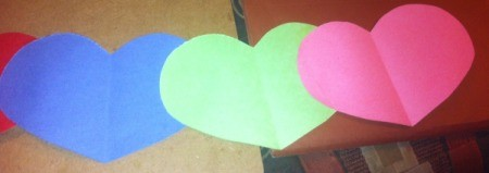 Name Heart Caterpillar - gluing hearts together with a 1.5 inch overlap
