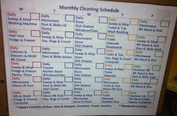 Keep Up With Household Chores By Creating a Cleaning Schedule - unmarked schedule