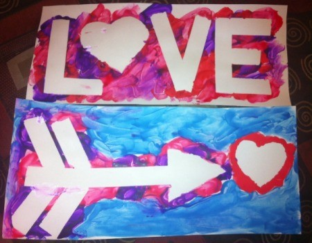 Love and Arrow Finger Paintings - both finished paintings