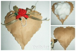 Brown Paper Hanging Heart Decoration