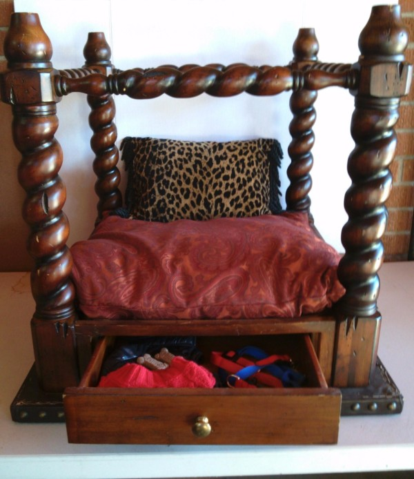 Recycled End Table as Canopy Pet Bed - finished bed with drawer open showing leash, etc.