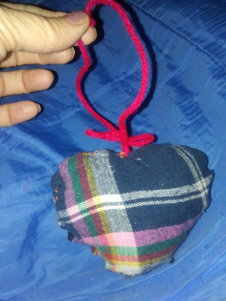 Country Plaid Heart Decoration - stuffed plaid fabric heart decoration