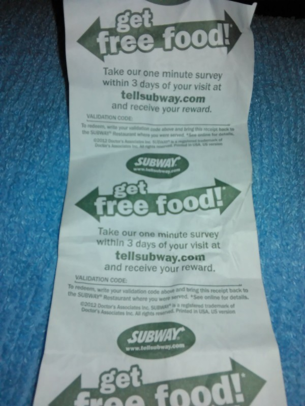 A fast food receipt from Subway