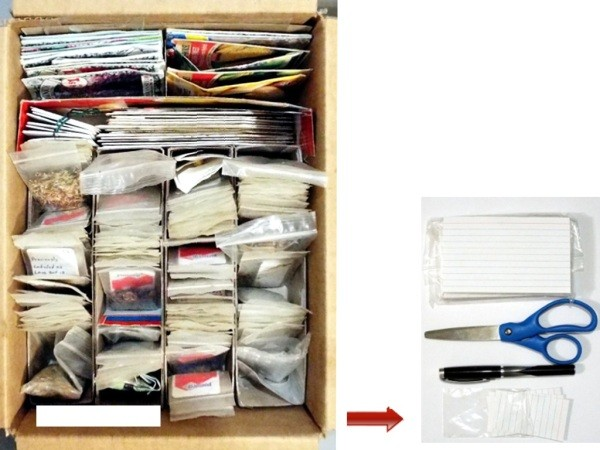 Organizing Seeds - space for note cards, scissors, and a pen