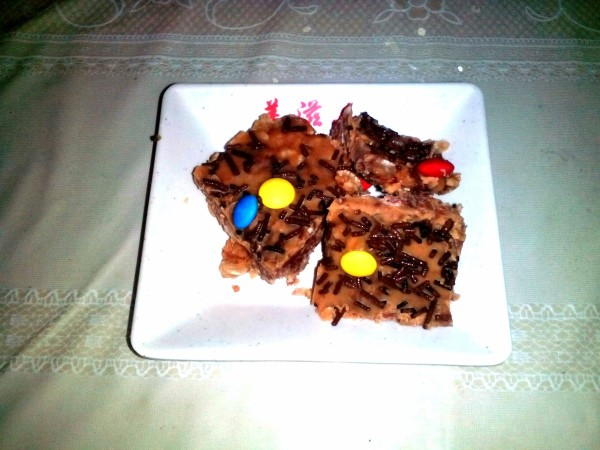 Choco Peanut-Butter Bars on plate