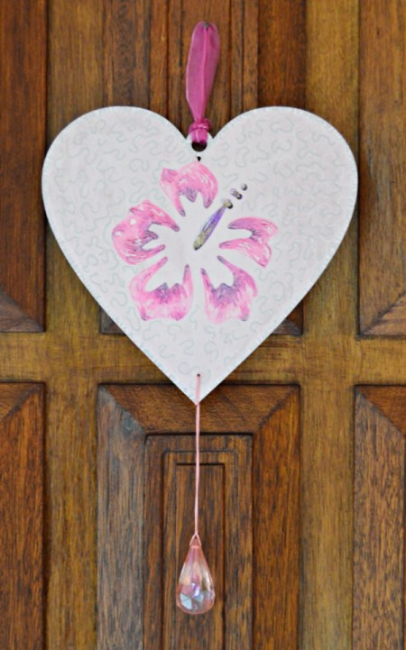 Hibiscus Love Mural Decoration - attach bead through bottom hole using embroidery floss