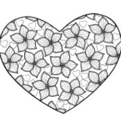 True Love Adult Coloring Page - heart shape filled with violets and heart shapes