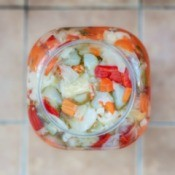 A jar of homemade vegetable relish.