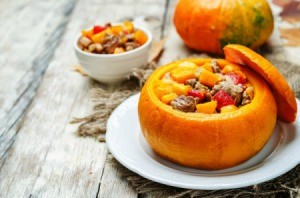 pumpkin stuffed with a meat and vegetable stew.
