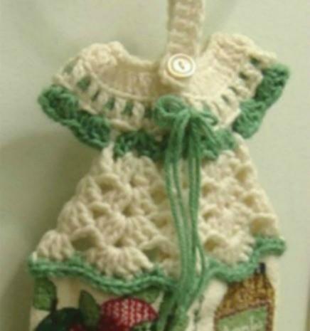 Crocheted Dress Towel Hanger ThriftyFun