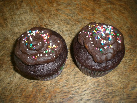 frosted cupcakes with sprinkles