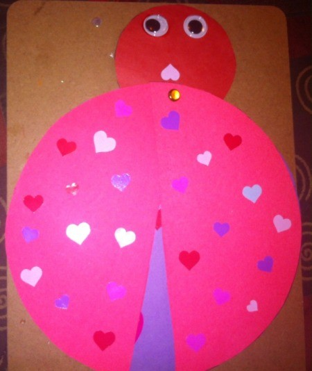 Love Bugs Kids' Craft - add eyes and mouth and decorate wings with stickers