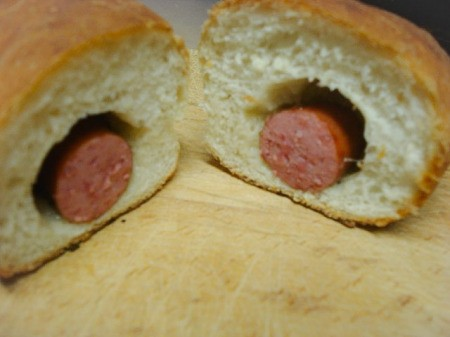 Cut Hot Dog Roll