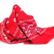 A red bandanna on a white background.