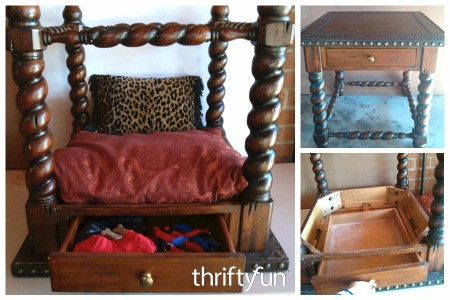 Recycled End Table Canopy Pet Bed