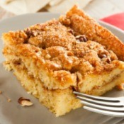 A slice of coffee cake on a plate.