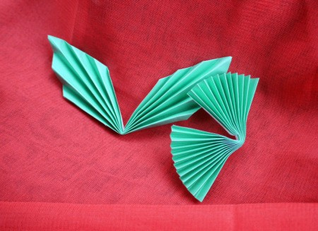 Pleated Paper Butterfly - bend both pieces in half
