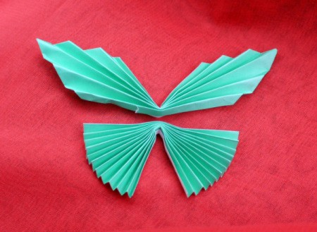 Pleated Paper Butterfly - place one piece above the other to make butterfly shape