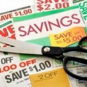 Coupon and scissors.