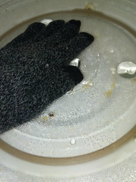 Use Winter Glove for Cleaning Inside of Microwave - gloved hand in microwave