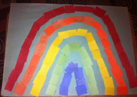 Paper Rainbow Mosaic - finished rainbow paper mosaic