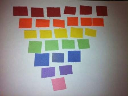 Paper Rainbow Mosaic - variation with horizontal color lines