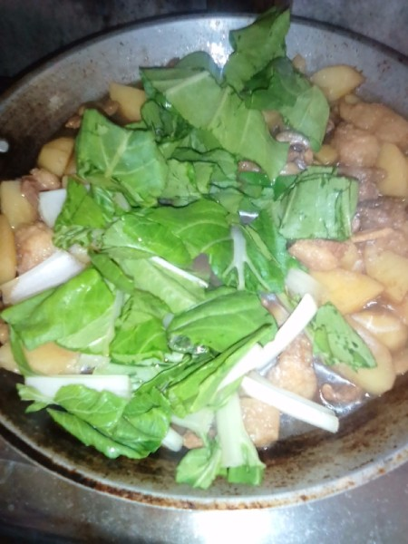 adding Chinese cabbage to skillet