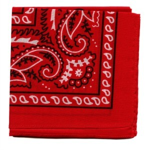 A classic red bandanna with a black and white pattern, folded.