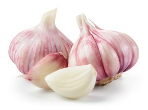 Bulbs and cloves of garlic on a white background.