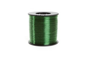 A spool of green colored fishing line.