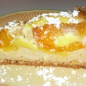 A slice of apricot coffeecake.